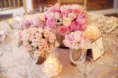 #baby-shower, #centerpiece, #rose, #pink, #light-pink  Photography: Melody Melikian Photography - www.melodymelikianphotoblog.com  Read More: http://www.stylemepretty.com/living/2014/03/31/sparkly-pink-baby-shower/