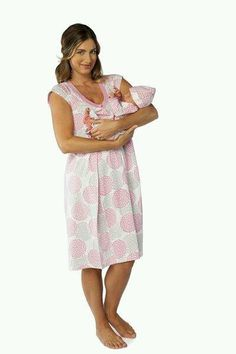 c04c7414473ee Lilly maternity/nursing nightgown matching baby going home outfit – Baby Be  Mine- color- Lilly, size large.