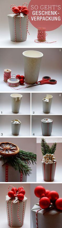 Free instructions: Christmas gift box in less than 5 minutes / free . - Free instructions: Christmas gift box in less than 5 minutes / free diy tutorial: last minute gift - Christmas Gift Box, Christmas Gift Wrapping, Christmas Time, Christmas Crafts, Craft Gifts, Diy Gifts, Handmade Gifts, Diy Presents, Last Minute Gifts