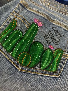 #handpainted #painteddenim  #selfmade #paintedjeans #cactus🌵 Fabric Paint Shirt, T Shirt Painting, Jeans Fabric, Painted Denim Jacket, Painted Jeans, Painted Clothes, Custom Clothes, Diy Clothes, Jeans Drawing