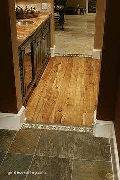 Wood And Tile Floor Design for entry wood and tile floor. love it Log 'tile' flooring wood floor design Hardwood Tile, Wood Tile Floors, Stone Flooring, Kitchen Flooring, Wood Floor, Floor Design, Tile Design, House Design, D House
