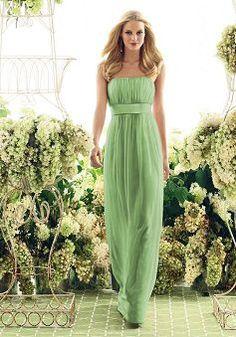 Plain Long Strapless Chiffon Empire Spring & Fall Bridesmaid Dress - 1300101472B - US$91.99 - BellasDress