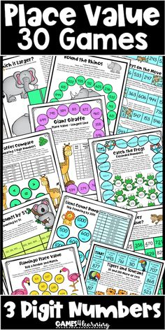 Place Value Games 3 Digit Numbers: Hundreds, Tens, Ones: Skip Counting: Base 10 Math Board Games, Math Games, Fun Games, Place Value Games, Place Value Activities, Fun Math, Maths, Skip Counting Games, Teaching Place Values