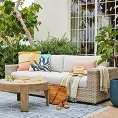 Outdoor sofa with outdoor rug Outdoor Cushions, Outdoor Lounge, Outdoor Living, Outdoor Decor, Concrete Outdoor Dining Table, Dining Table With Bench, Outdoor Furniture Covers, Furniture Sets, Porch Furniture