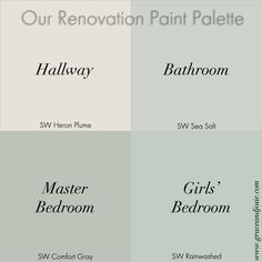 Our Renovation Story: The Paint Palette we used to create a coastal vibe with gray and blue featuring Heron Plume, Sea Salt, Comfort Gray, and Rainwashed from Sherwin Williams - Sherwin-Williams Bedroom Paint Colors, Interior Paint Colors, Paint Colors For Home, Wall Colors, House Colors, Paint Colours, Playroom Paint Colors, Best Bathroom Paint Colors, Paint Bathroom