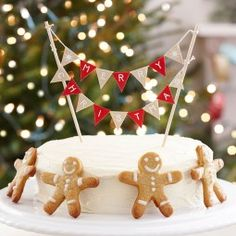 Ginger Ray Vintage Christmas Cake Bunting Topper Decoration - Noel for sale online Christmas Cake Designs, Christmas Cake Topper, Christmas Cake Decorations, Christmas Treats, All Things Christmas, Christmas Holidays, Christmas Cakes, Merry Christmas, Christmas Bunting