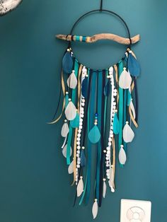 Driftwood dream catcher in duck blue, green, white and black Ceramic Beads, Wooden Beads, Navy Blue Color, Blue Green, Hanger Game, Green Corridor, Grey And Gold, House Colors, Driftwood