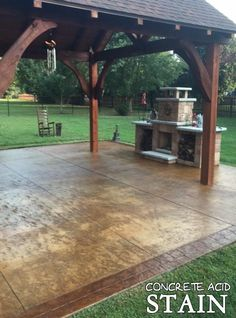 Staining a concrete patio is by far our most popular first-time DIY home project. Acid stained patios are unique, welcoming and add value to your home. Concrete Patios, Acid Stained Concrete Patio, Outdoor Concrete Stain, Colored Concrete Patio, Concrete Patio Designs, Backyard Patio Designs, Backyard Landscaping, Decorative Concrete, Concrete Floors