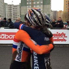 Beautiful moment captured of our two winners and (Thanks to: Marianne Vos, Beautiful Moments, Drink Bottles, Cycling, Champion, Bicycle, In This Moment, Female, Inspiration