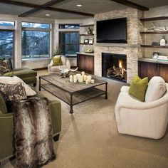 TV Above Fireplace Design Ideas Built In Around Fireplace, Tv Above Fireplace, Fireplace Built Ins, Fireplace Shelves, Home Fireplace, Living Room With Fireplace, Fireplace Design, Living Room Sofa, Fireplace Ideas