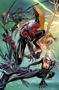J Scott Campbell Nei Ruffino superior Spiderman cover Arte Dc Comics, Marvel Comics Art, Marvel Vs, Marvel Heroes, Anime Comics, Spiderman Marvel, Comic Book Characters, Comic Book Heroes, Marvel Characters
