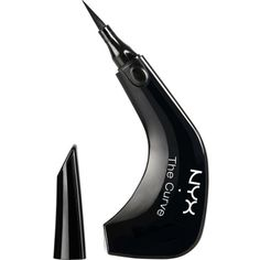 NYX COSMETICS The curve liquid eyeliner ($18) ❤ liked on Polyvore featuring beauty products, makeup, eye makeup, eyeliner, jet black, nyx eyeliner, nyx, liquid eyeliner, liquid eye-liner and liquid eye liner