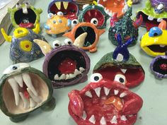 Pinch pot monsters - use to process anxiety or trauma (make them silly to help…