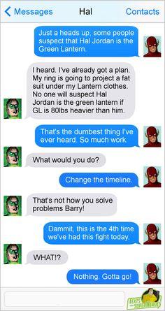 Texts from superheroes Flash/green lantern Marvel Jokes, Marvel Funny, Marvel Dc Comics, Funny Comics, Superhero Texts, Comic Text, Geeks, Dc Anime, Dc Memes