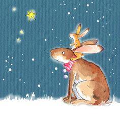 Rabbits Hares Cute animal Christmas Card