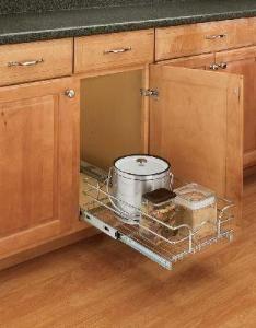 "Rev-A-Shelf, 5WB1-0918-CR, 9 inch Pull-Out Chrome Wire Shelf - Minimum opening 8 1/2"""