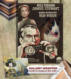 Bull Terrier Vintage Poster Canvas Print - Rear Window Movie Poster NEW Collection by Nobility Dogs  #RearWindow #BullTerrier #DogCharm #DogPrint #terrier #NobilityDogs #CustomDogPortrait #DogArt #BullTerrierArt #TerrierArt