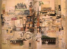 """Jonathan Talbot, """"Library Book,"""" Collage-Construction, 6 1/2 by 9 feet, 2001."""