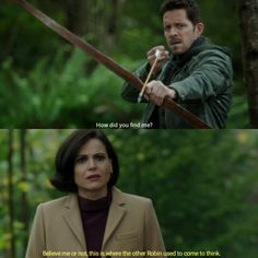 """Believe me or not, this is where the other Robin used to come to think"" - Regina and Dreamworld Robin #OnceUponATime"