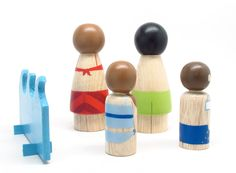 Fair Trade // Children Toys Wooden PEG DOLLS The Bathers // A Set of Hand-Painted Wooden Peg Dolls Kids Wooden Toys. $50.00, via Etsy.