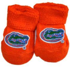 Florida Gators Two Feet Ahead Infant Baby Newborn Orange Gator Head Sock Booties