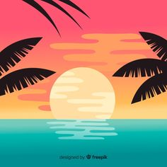 Beach sunset landscape background Free V. Palm Tree Background, Tropical Background, Beach Background, Pastel Background, Landscape Background, Background Patterns, Landscape Edging, Sunset Landscape, Summer Backgrounds