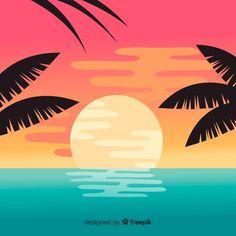 Beach sunset landscape background Free V. Palm Tree Background, Tropical Background, Beach Background, Pastel Background, Landscape Background, Background Patterns, Landscape Edging, Sunset Landscape, Summer Backgrounds