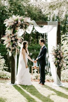 11 Unique Wedding Ceremony Arch Ideas - Orange Blossom Bride - - Innovative design, colorful pieces of art, and floral structures for these stunning 11 unique wedding ceremony archways and backdrops. Wedding Arbors, Wedding Ceremony Decorations, Wedding Ceremonies, Wedding Backdrops, Decor Wedding, Wedding Aisles, Budget Wedding, Wedding Trellis, Budget Bride
