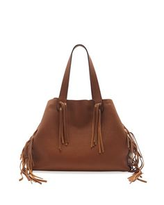 C-Rockee Fringe Leather Tote Bag, Tan by Valentino at Neiman Marcus.