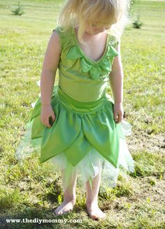 Sew a Tinkerbell Skirt & Top by The DIY Mommy #costume #fairy #Halloween #kids #sewing #DIY #tutu #apron