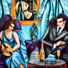 Título: Love Sereade - After Lempicka Homenagem a Polaca Maria Górska, conhecida como Tamara de Lempicka. Lempicka foi um dos grandes nomes da Art Déco. art deco pintura - Pesquisa Google