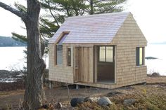 Writer's Block Tiny Cabin and Boat House - Tiny House Pins Tiny Cabins, Tiny House Cabin, Canoe House, Eco Cabin, Small Buildings, Cottage, Small House Design, Cabins In The Woods, Little Houses