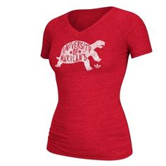 adidas Maryland Terrapins Women's Red Logo Lettering Triblend V-Neck T-Shirt