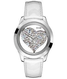 Guess Rhinestone Heart Watch - Women's Watches in White Cute Watches, Watches For Men, Guess Watches, Women's Watches, Dream Watches, Stylish Watches, Pocket Watches, Wrist Watches, Bling Bling