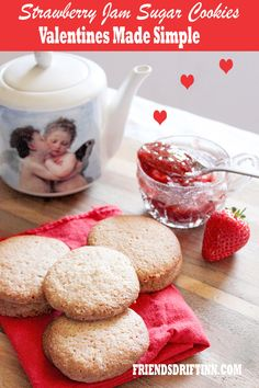 Unique strawberry jam sugar cookies pairs well with champagne and love!  Easy make-ahead sugar cookies are fun with fruit and cheese trays. #ValentinesDay #ValentinesCookies #FriendsDriftInn