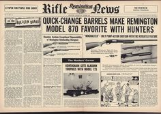 1957 REMINGTON Model 870 Wingmaster Shotgun Centerfold AD #Colt
