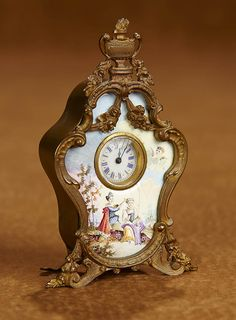 Tears for Mina - March 2018 at the Hyatt Coconut Point, Naples, FL: 37 Viennese Enamel Mantel Clock with Hand-Painted Scene Silver Enamel, Doll Accessories, Antique Dolls, Fashion Dolls, Auction, Scene, Hand Painted, Big Time, French Fashion
