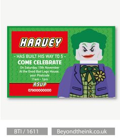 Personalised Joker Lego Movie Invitations.  Printed on Professional 300 GSM smooth card with free envelopes & delivery as standard. www.beyondtheink.co.uk