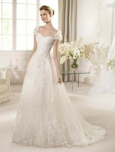 A line tulle wedding dress with organza flowers and cap sleeves FSPW175