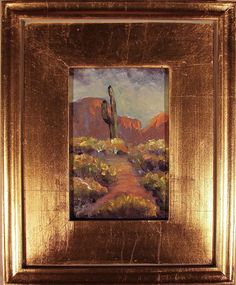 Plein Air Landscape GOLD FRAMED Painting Canvas Wall Art DESERT CACTUS FOLTZ #Impressionism