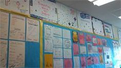 Students in the Math Lab at EC Goodwin Technical High School create an interactive bulletin board with key strategies and definitions used in 9th and 10th grade math classes. @bbsoulful2