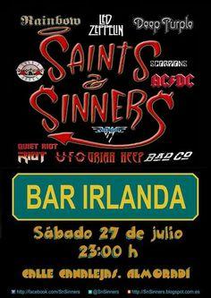 Cartelera SnSinners en Bar Irlanda, Almoradí 2013
