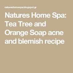 Natures Home Spa: Tea Tree and Orange Soap acne and blemish recipe