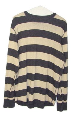 GAP Mens Blue Cream Stripe Long Sleeve Crew Neck Thermal Waffle Shirt Large L #GAP #Thermal