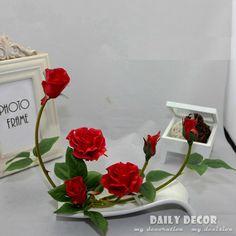 Новый! высокая моделирования синий пу роуз искусственный цветочные украшения комплект флорес artificiais arranjos икебаны в керамические горшки удовлетворить купить на AliExpress
