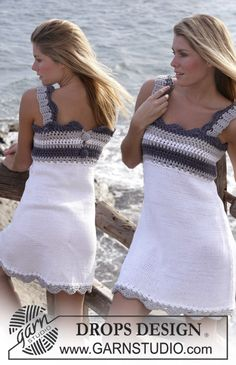 "Knitted DROPS dress with crochet yoke in ""Paris"" ~ DROPS Design"