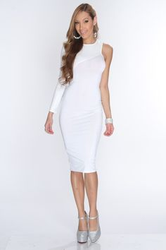 This elegant dress is one to catch attention anywhere you go! Its perfect for a night out with your gals or on a nice date. Perfect for any kind of weather.  It will keep you warm at night and nice and cool during the day. featuring scoop neckline, one shoulder long faux leather sleeve, one sleeveless shoulder, long length, and tight fitted. 94% polyester 6% spandex.
