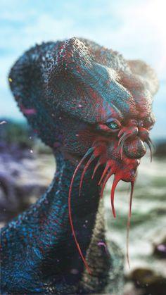 Sci-Fi art piece by Anthony Sieben. Arte Alien, Arte Sci Fi, Alien Art, Sci Fi Art, Alien Creatures, Fantasy Creatures, Mythical Creatures, Alien Character, Character Art