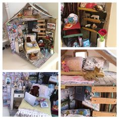 Made a cute little miniature dollhouse out of cardboard and some fabric , for my little niece ❤️❤️took me about 2 weeks, but it was worth it 👩🏼‍🎨
