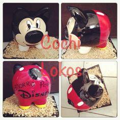 Alcancía mickey ahorro para Disney Mickey Mouse, Minnie, Pottery Painting, Ceramic Painting, Pig Bank, Personalized Piggy Bank, Color Me Mine, Disney, Diy And Crafts